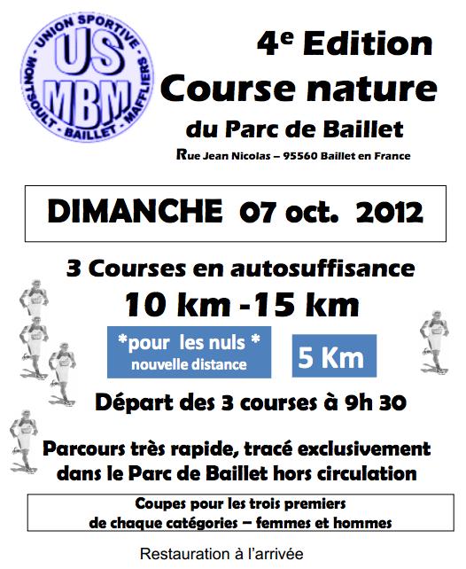 Affiche Course nature du Parc de Baillet